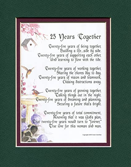 Amazon.com: A Gift Present Poem For A 25th Wedding Anniversary ...