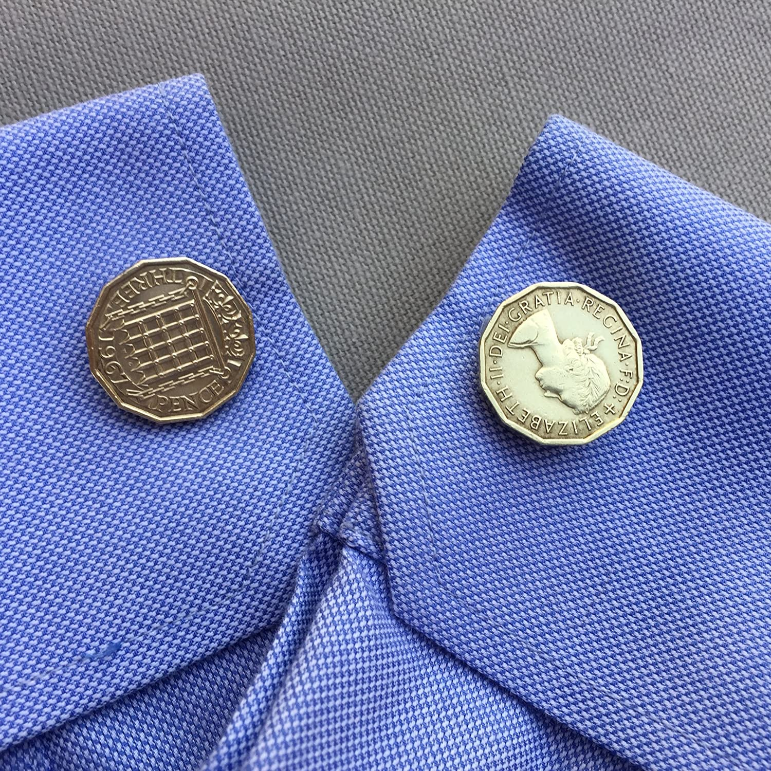 Ammo Gift Box Authentic 3 Pence Threepenny Bit Vintage British Coin Cufflinks