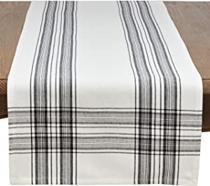 SARO LIFESTYLE Barry Collection Plaid Pattern Cotton Table Runner, 16