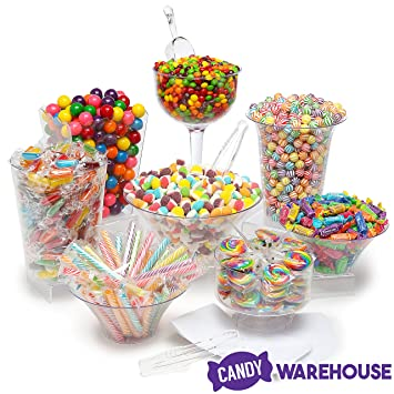 rainbow candy kit party candy buffet table 25 to 50 guests rh amazon com candy bar buffet bowls