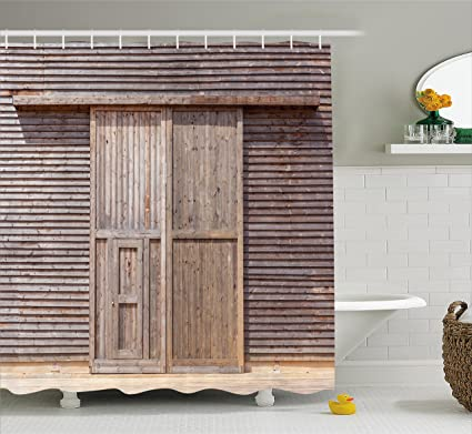 Amazon Ambesonne Industrial Shower Curtain Old Wooden Timber