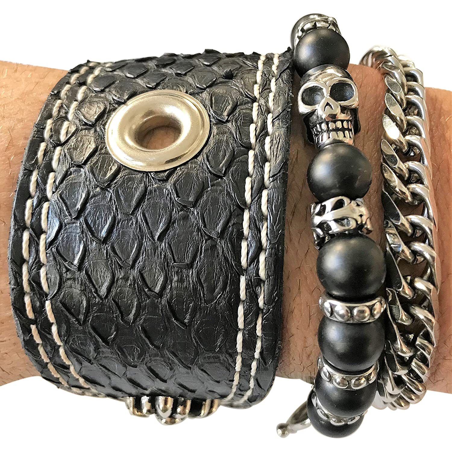 Stacked Black Anaconda Leather, Onyx Beads & Skull Stainless Steel Chain Bracelet - DeluxeAdultCostumes.com