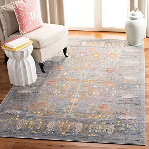 Safavieh Valencia Collection VAL108C Grey and Multi Vintage Distressed Silky Polyester Area Rug 5' x 8'