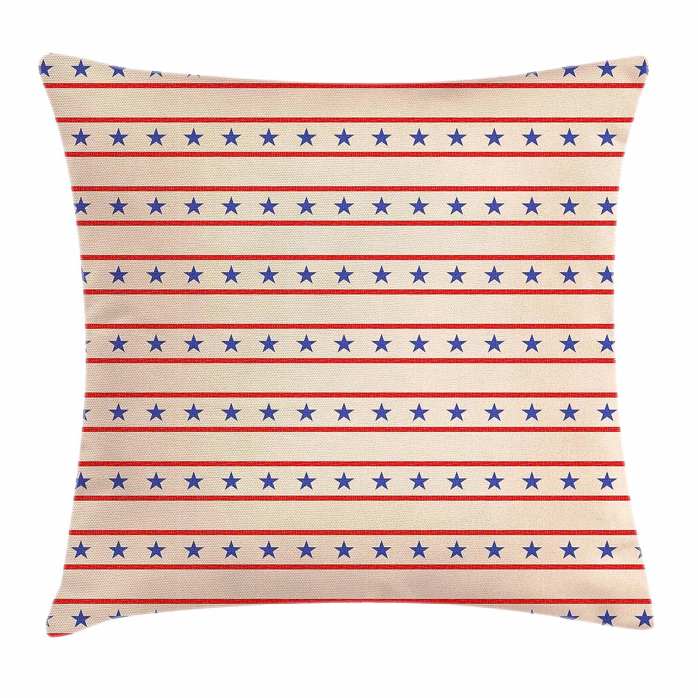 プリミティブ国装飾スロー枕カバークッションカバーby Ambesonne、水平Borders Patriotic Stars Nostalgic USAパターン、装飾正方形アクセント枕ケース、クリームネイビーブルーレッド 24