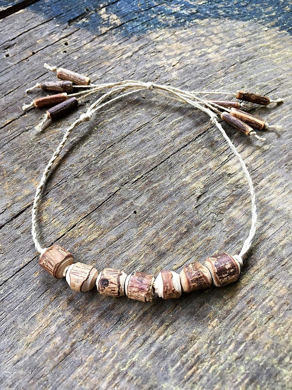 Adjustable Hemp Anklet, Natural Wood | Coconut Shell Beads, Wish Bracelet, Surfer Gift