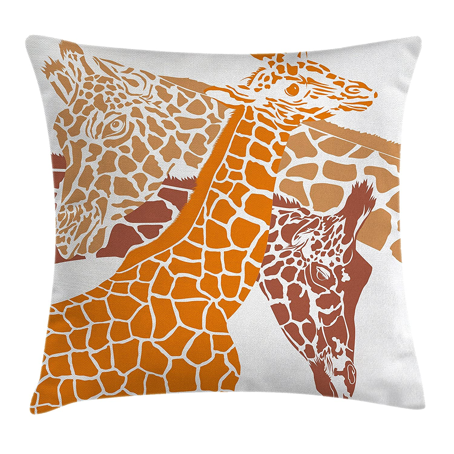 Ambesonne Giraffe Throw Pillow Cushion Cover, Sketch of A Family Safari Wildlife in African Tall Animal Zoo Camouflage