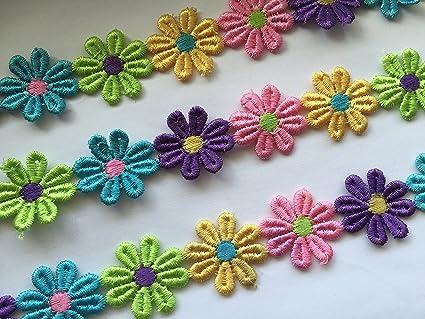 2m Green,Daisy Flower Motif Trimmings,Wedding Apllique Satin Lace Ribbon