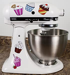 Colorful Cupcakes Vinyl Decals for Kitchen Mixers