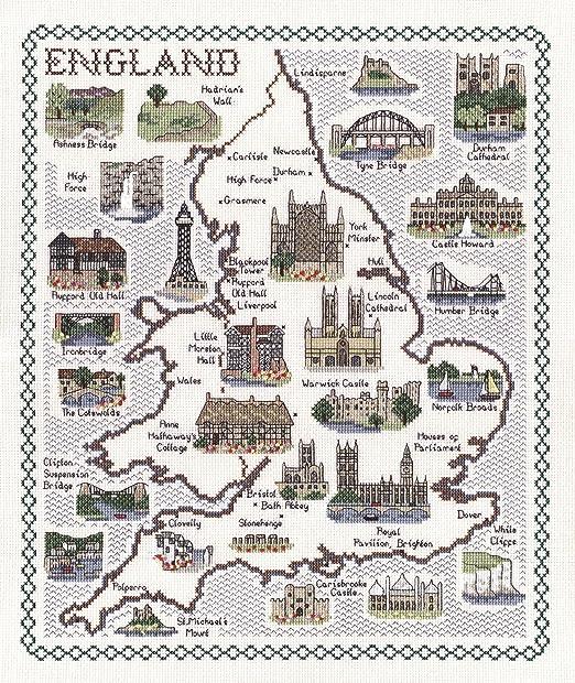 England  14 count aida cross stitch map Amazoncouk Kitchen  Home