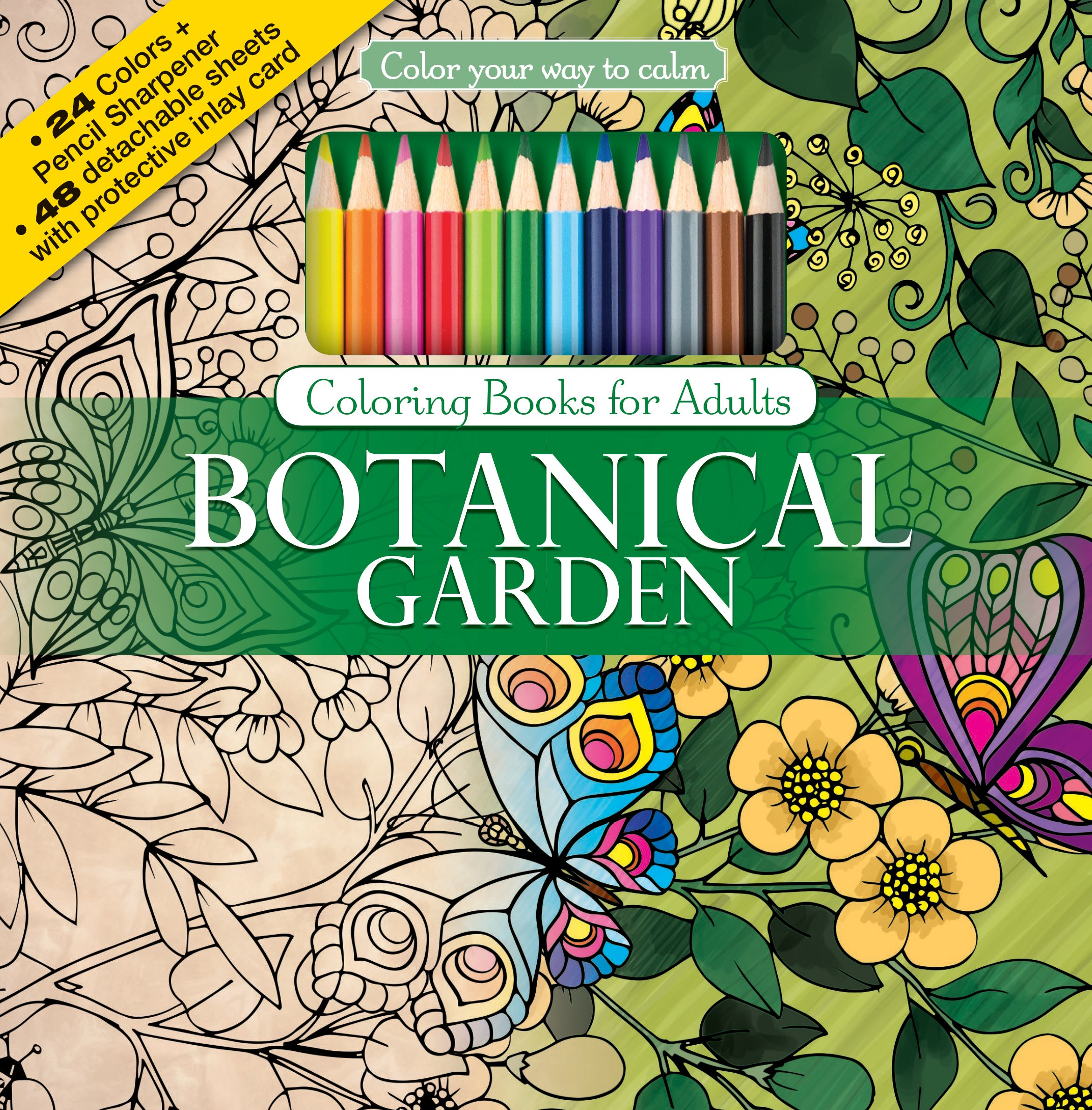 Amazon.com: Botanical Garden Adult Coloring Book Set With 24 ...