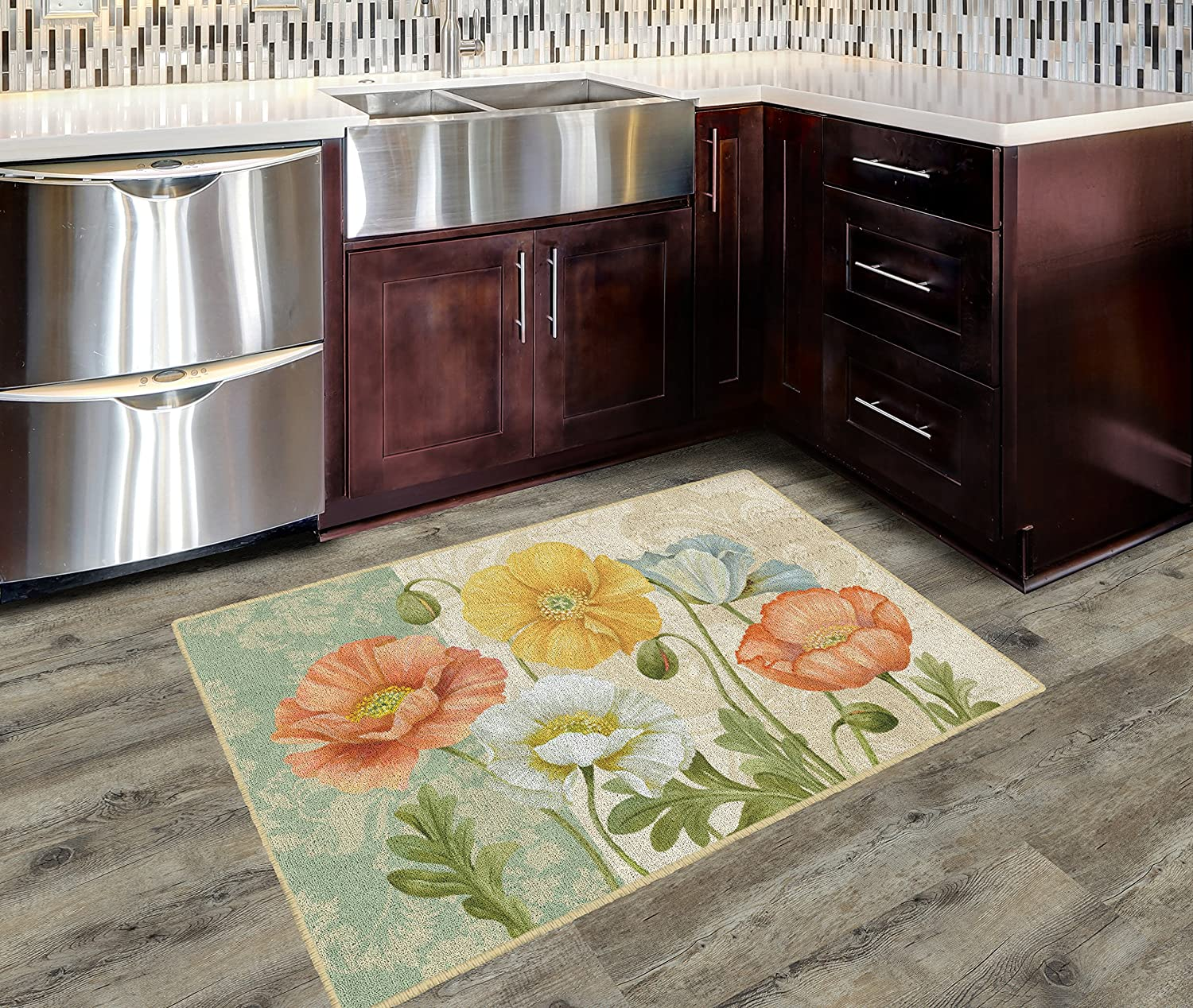 Brumlow Mills EW10330-30x46 Pastel Poppies Multi Kitchen and Entryway Floral Rug 26 x 310