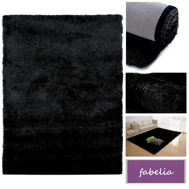 Hochflor Teppich Shaggy Gentle Luxus - Satin Luxury - Weich und Handgetuftet In vielen bunten Farben (160 cm x 230 cm, Schwarz)