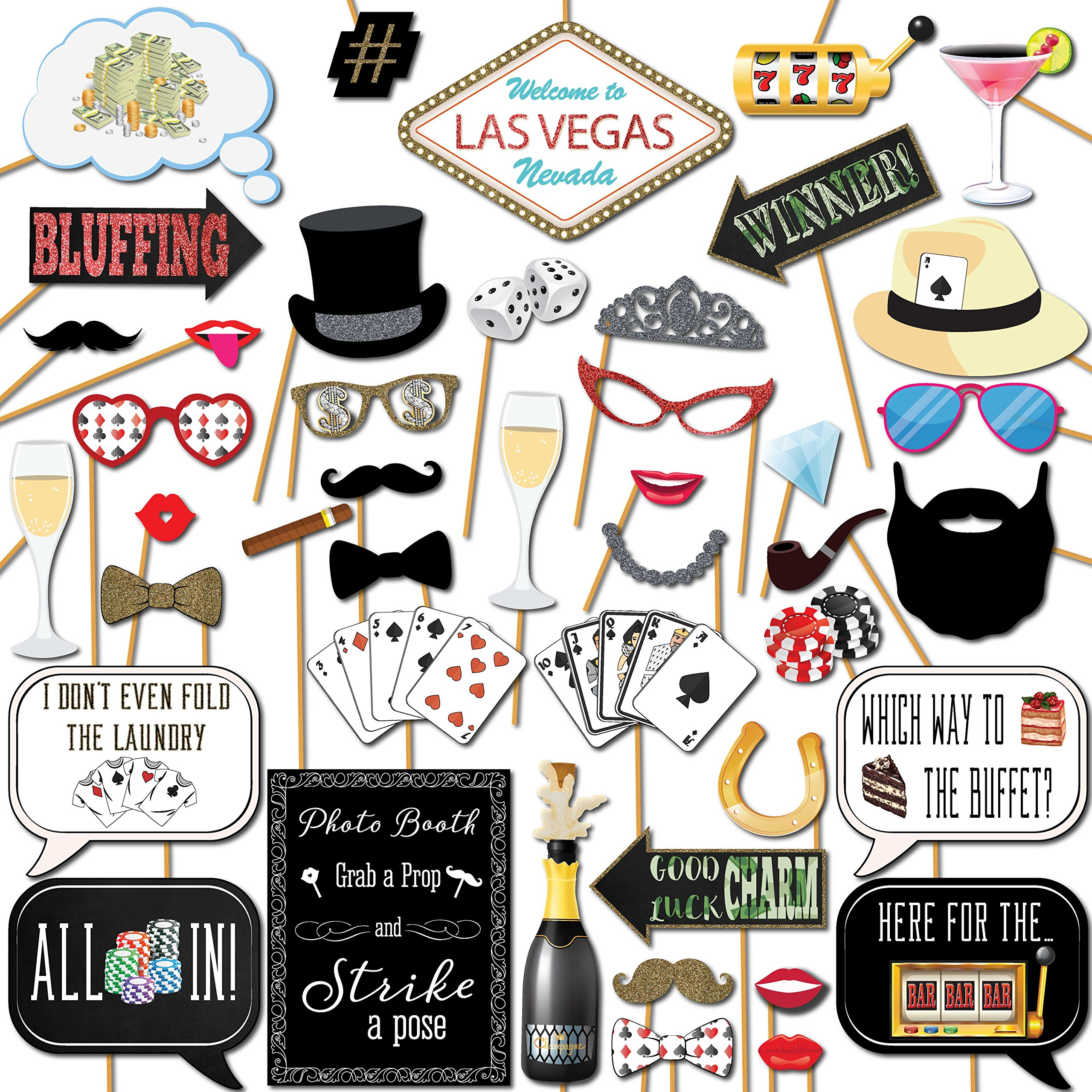 Las Vegas Casino Photo Booth Props Kit 44 Pieces With Wooden Sticks