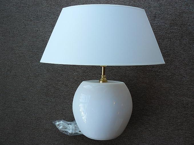 Grandes ovalada Lámpara de mesa de cerámica blanco, latón ...