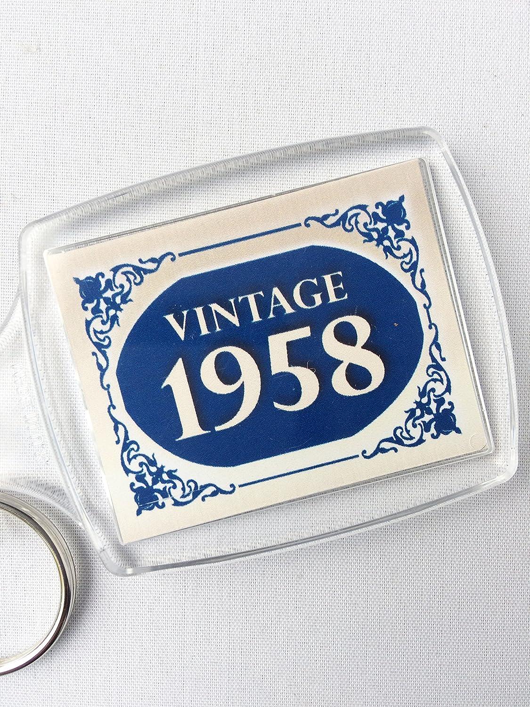 1958 azul Vintage Happy 60th cumpleaños llavero 2018 ...