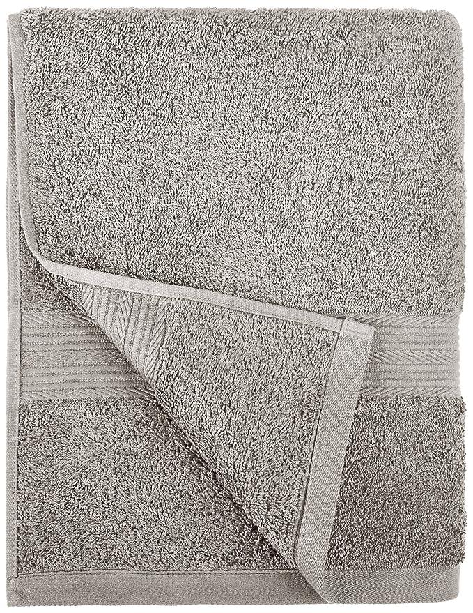 AmazonBasics - Juego de toallas (colores resistentes, 2 toallas de manos), color gris: Amazon.es: Hogar