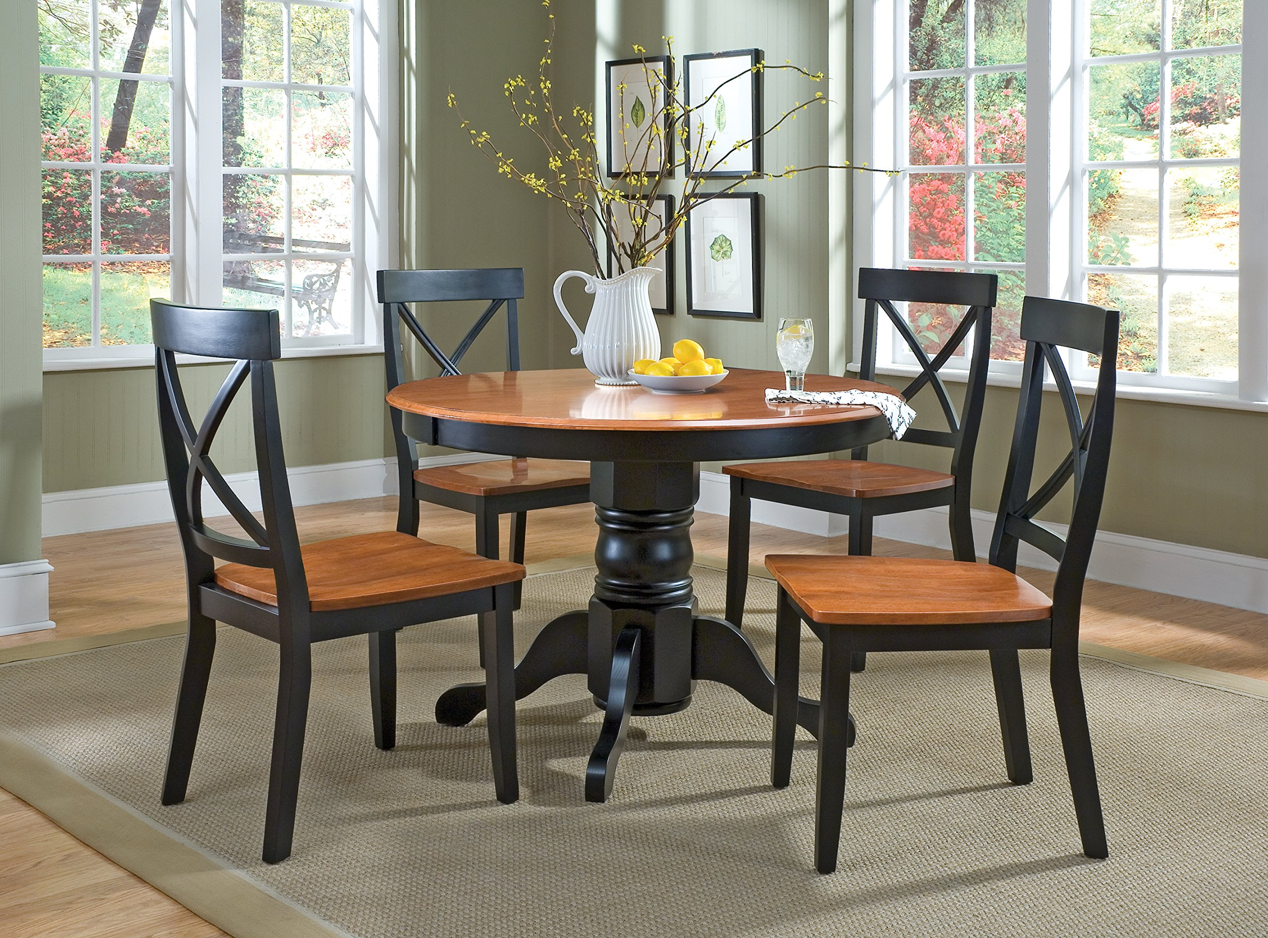Home Styles 5168-30 Round Pedestal Dining Table, Black and Cottage Oak Finish by Home Styles (Image #4)