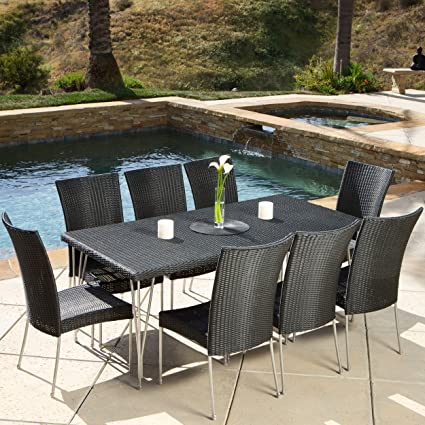 Tampa Patio Furniture ~ 9 Piece Outdoor Wicker Dining Set With Stacking  Outdoor Dining Chairs