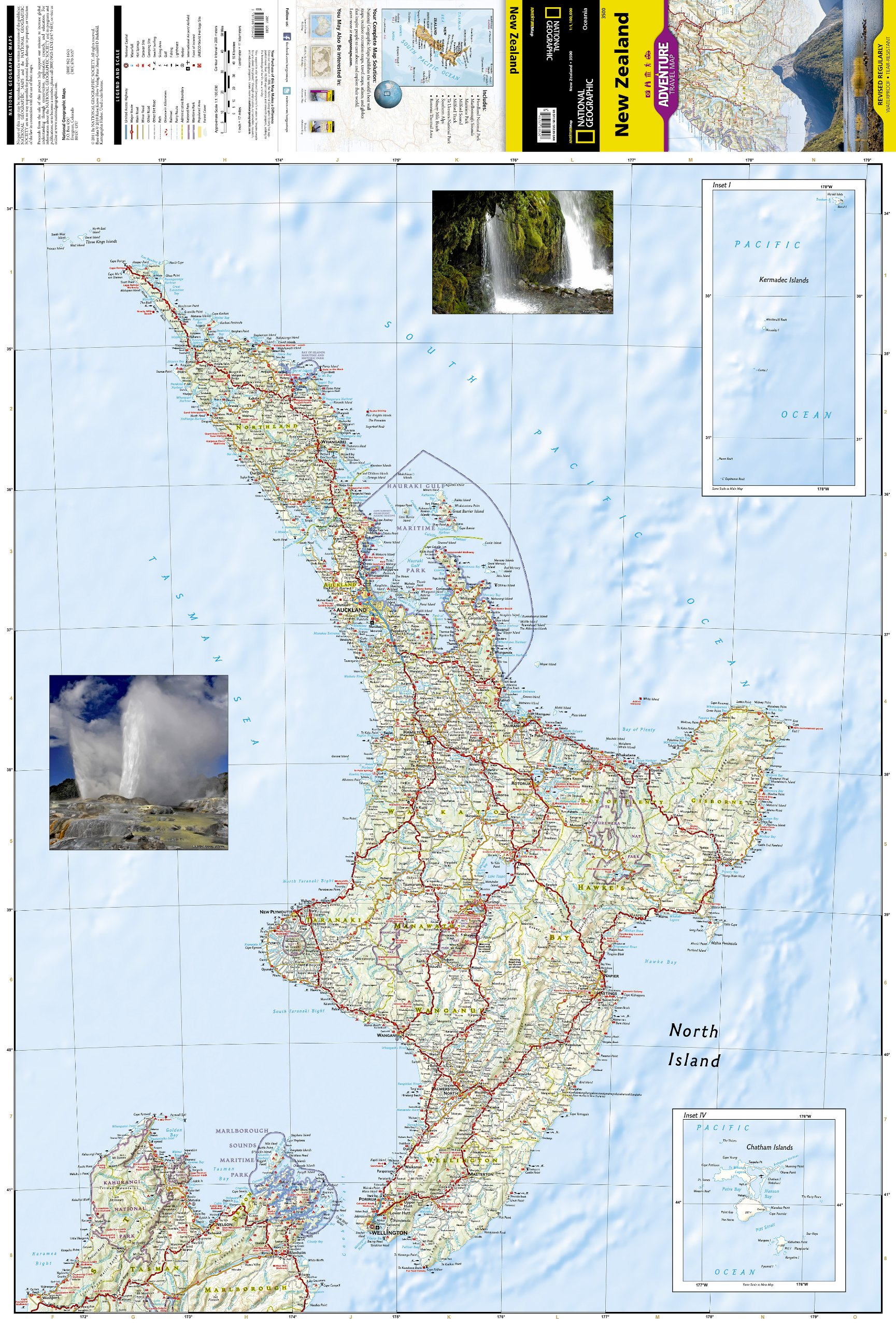 New Zealand Map With Cities And Towns.New Zealand National Geographic Adventure Map National Geographic
