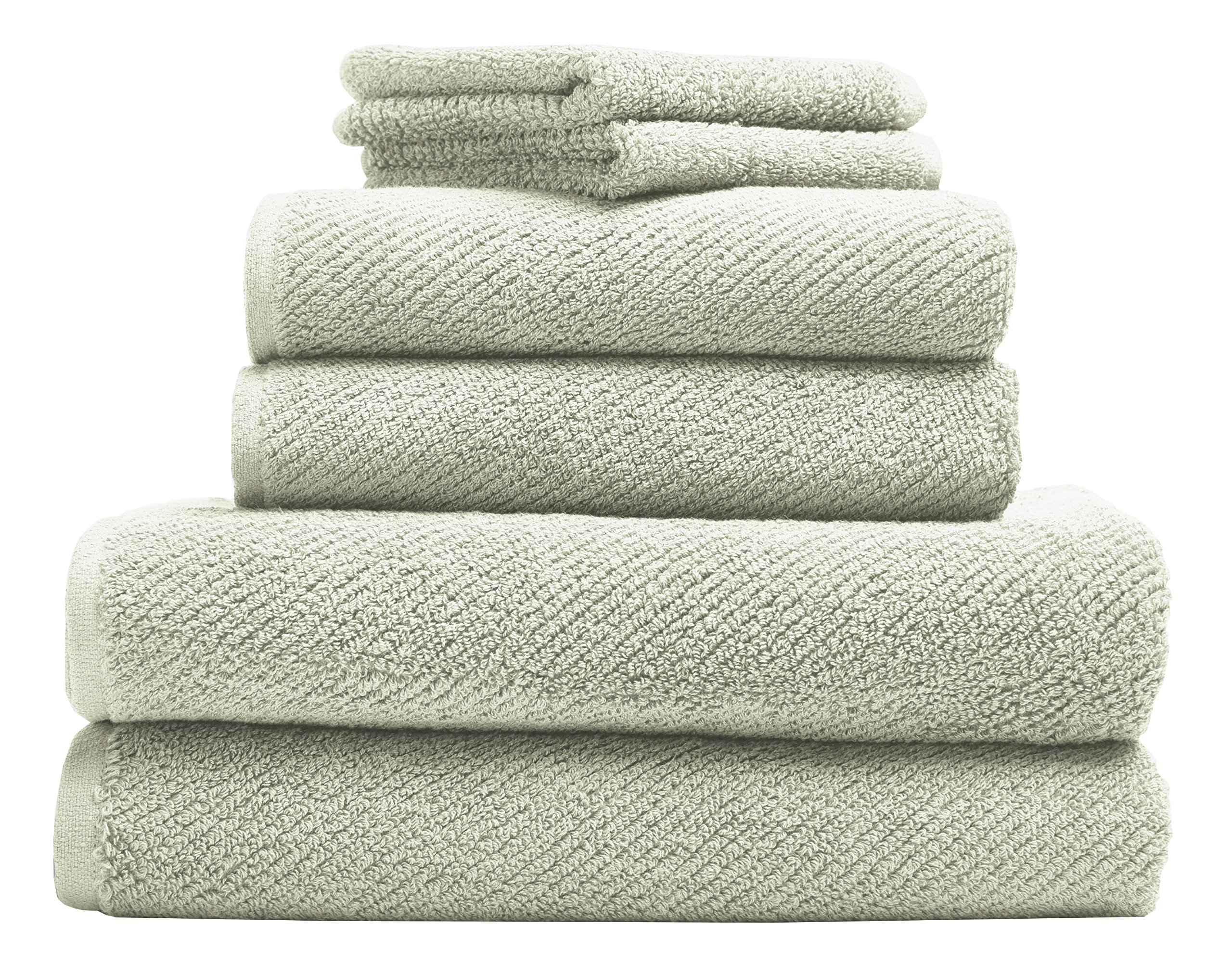 Coyuchi Air Weight Organic 6pc Towel Set, BT, HT, WC, Sage