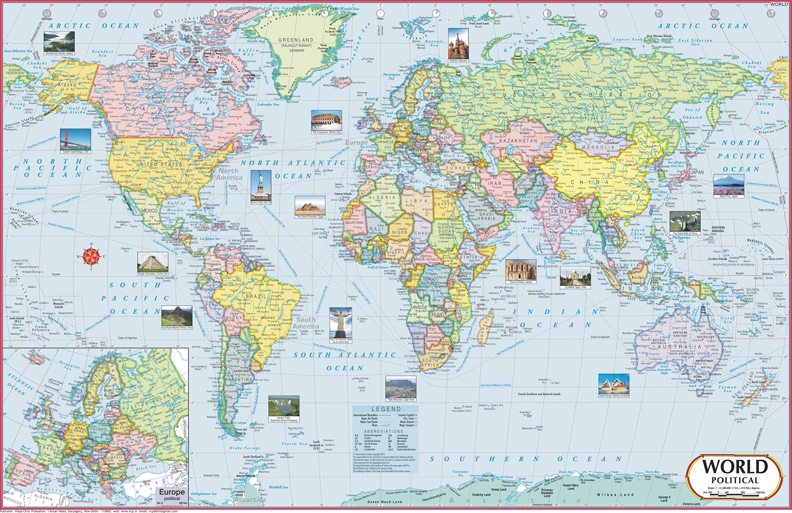 Buy World Map Political 70 X 50 Cm World Map Book Online At
