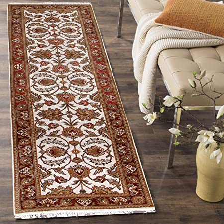 Rugsville Persian Maddie Floral Ivory Maroon Hand Knotted Wool Rug 2 6 X 10 Runner Amazon Co Uk Kitchen Home