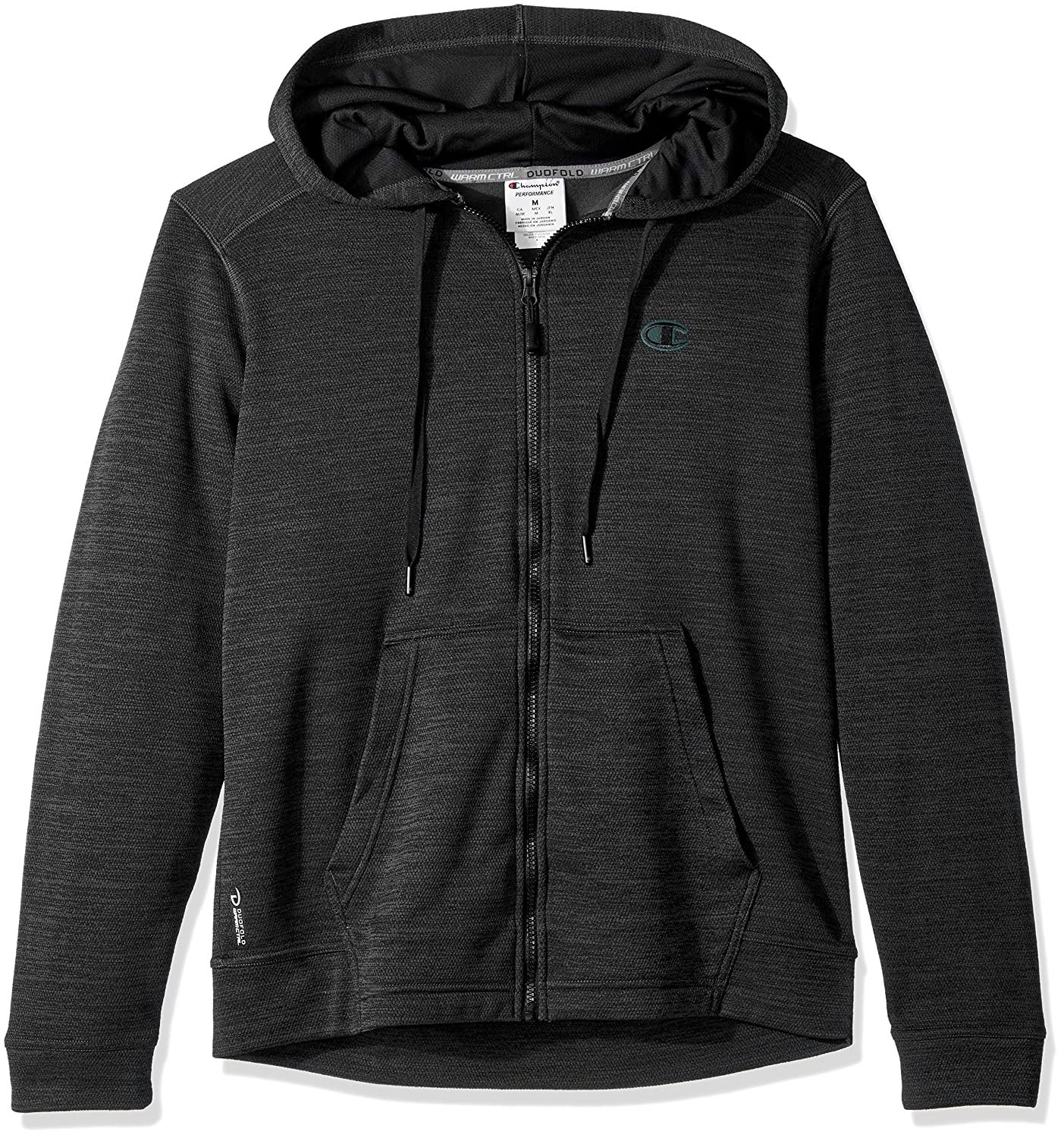 3cedc3fe Amazon.com: Champion Men's Premium Performance Fleece Full Zip Hoodie,  Forest Grove Heather/Black, Small: Clothing