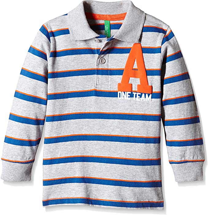 United Colors of Benetton 3PC6C303P Poll Stripe Polo Niños, Gris ...