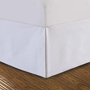 """DreamSpace Quilted Bed Skirt Dust Ruffle Diamond Pattern Matelasse Tailored 14"""" Drop Queen, White"""