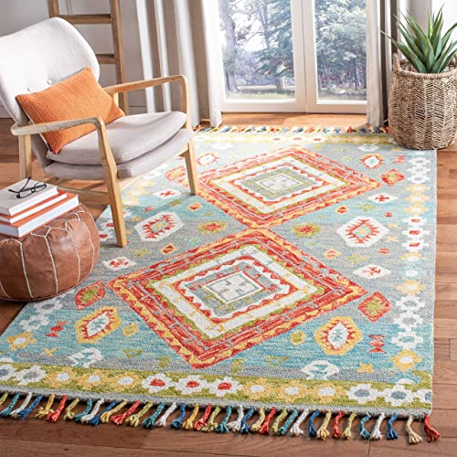 Safavieh Aspen Collection APN119F Handmade Wool Tassel Area Rug, 8 x 10 , Grey Red