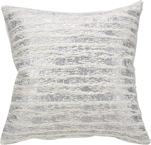 SARO LIFESTYLE Collection Faux Fur with Brushed Metallic Foil Print Pillow, 20 , Silver