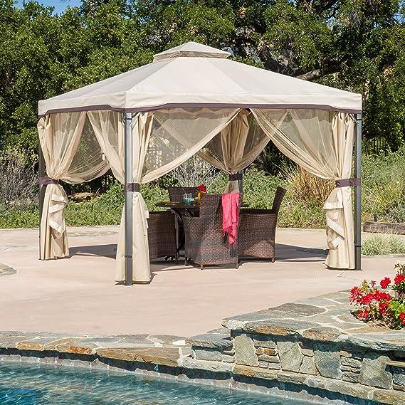 Skyline - Cenador de tela resistente a los rayos UV, techo de poliéster, malla de mosquitera lateral ajustable, hecho de poliéster y acero, sólido y duradero, malla ...