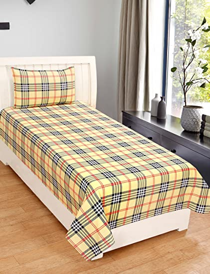 5982e11604 Zain Cotton Single Bed Sheet with 1 Pillow Cover, Yellow Checkered Pattern:  Amazon.in: Home & Kitchen