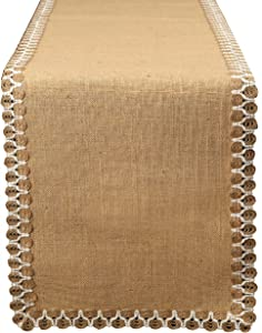 Ramanta Home Burlap Lace Hessian Table Runner 108 Inch, Eco Friendly, for Rustic Vintage Look, Country Wedding Baby Shower Jute Décor- 12x108 Natural Set of 2