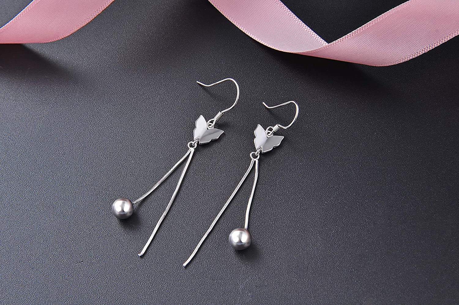 FHX New Pure and Fresh 925 Sterling Silver Butterfly Ball Ms Fashion Accessories Long-Style Earrings Drop /& Dangle Earrings for Women Girls Gift.