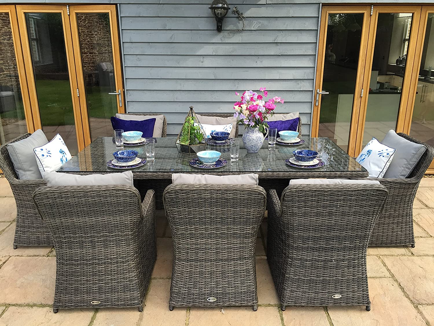 grey rattan dining table. venice luxury grey rattan garden or conservatory 8 seat rectangular dining furniture set: amazon.co.uk: kitchen \u0026 home table r