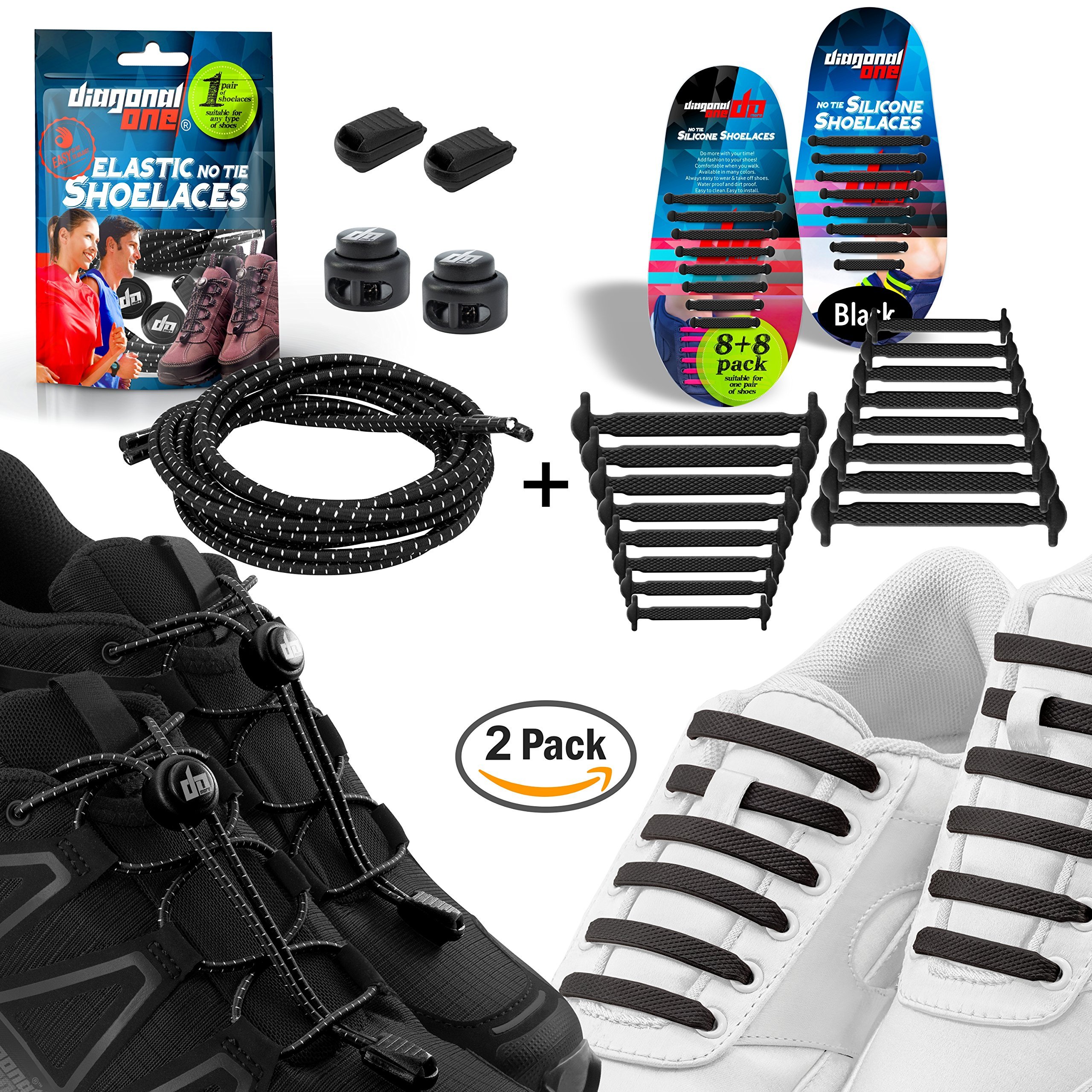 Diagonal One No Tie Shoelaces – 2 Pack. Slip On Tieless Elastic + Silicone Shoe Laces for Kids, Adults & Seniors. Best for Sneakers and Casual Footwear (Black Elastic + Black Silicone)