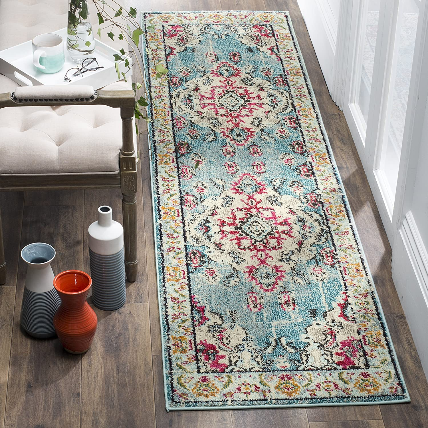 Safavieh Monaco Collection Vintage Bohemian Light Blue and Fuchsia Distressed Runner (2