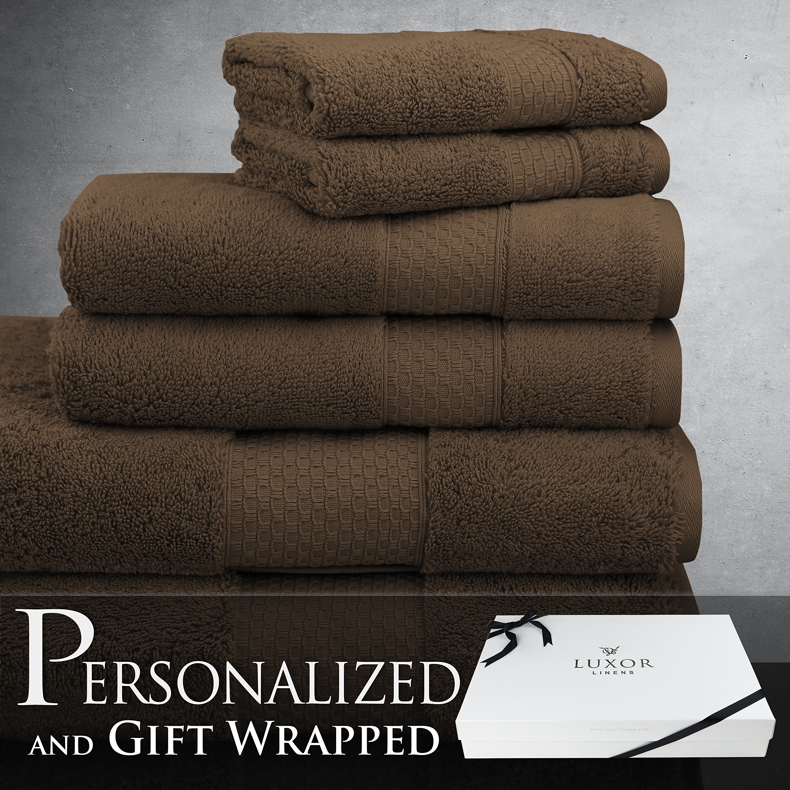 Luxor Linens New Arrival Mariabella Collection Luxury Turkish Cotton 6-Piece Towel Set - Chocolate - with Gift Packaging