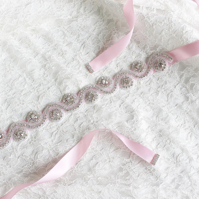 dfabd57148f6 BABEYOND Bridal Wedding Sash Belt with Crystals Rhinestone Wedding Dress  Applique Belt for Wedding Party Prom Evening Dresses Pink  Amazon.co.uk   Clothing