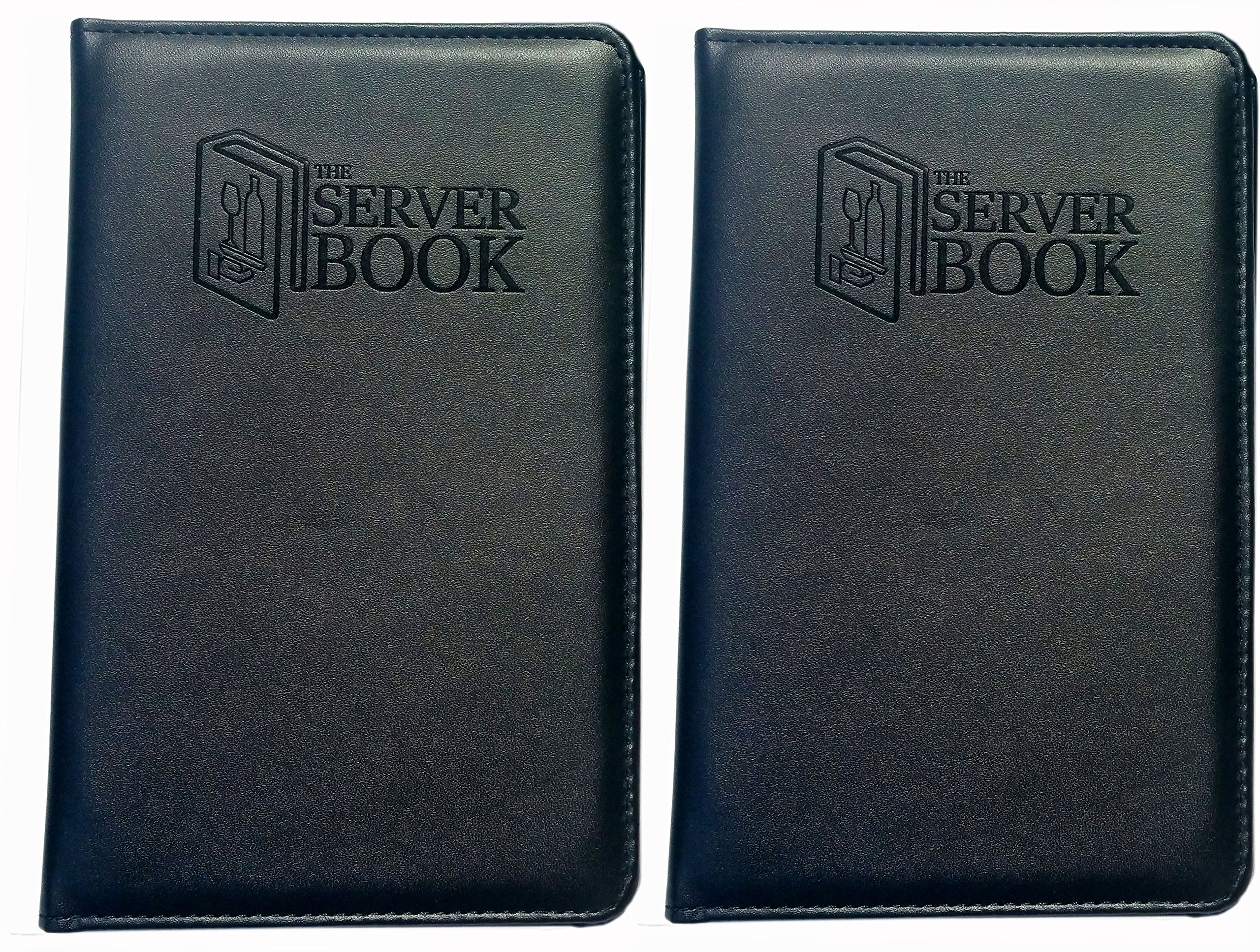 2 Server Books with Zipper Pocket - Black Waitress/Waiter Book with Money Pocket For Every Apron - Food Service Equipment & Supplies - Menu & Guest Check Disiplayers-5.2 x 8 inches (2)
