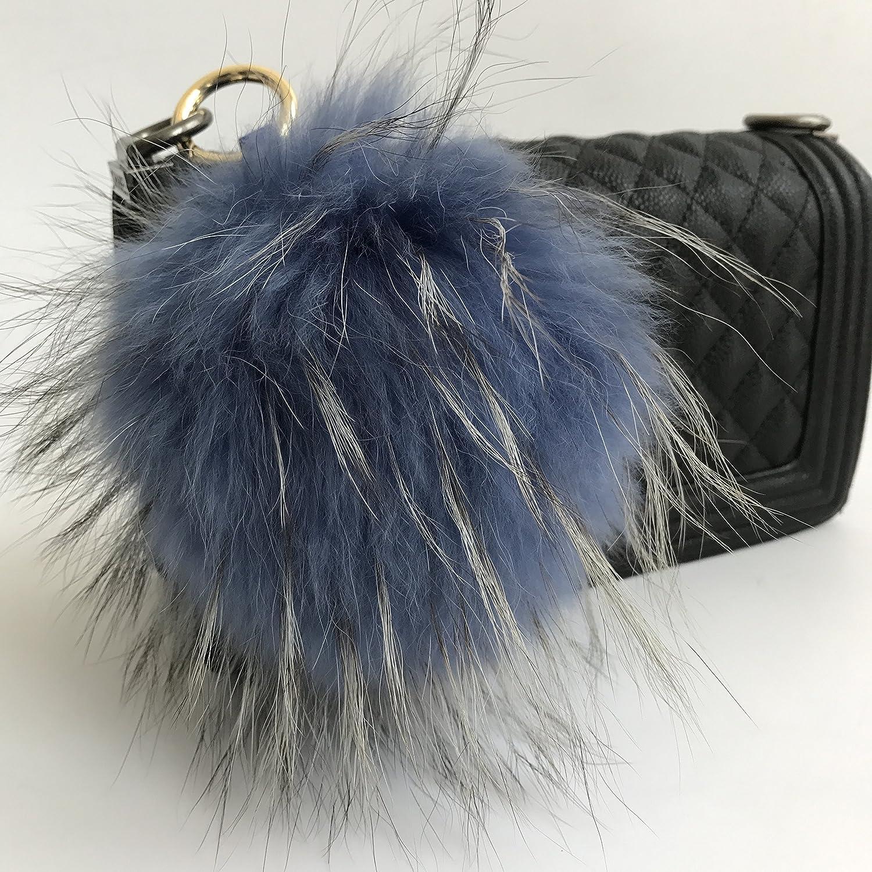 15cm Real Raccoon Fur Soft Fur Pompom Ball Doll handbag charm Car Phone keyring