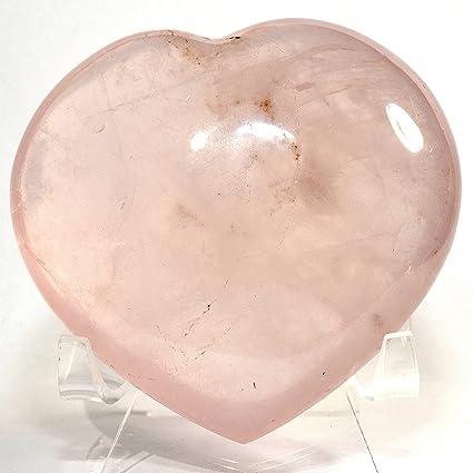 Amazon.com: Corazón de cuarzo rosa de 3.7 in con forma de ...