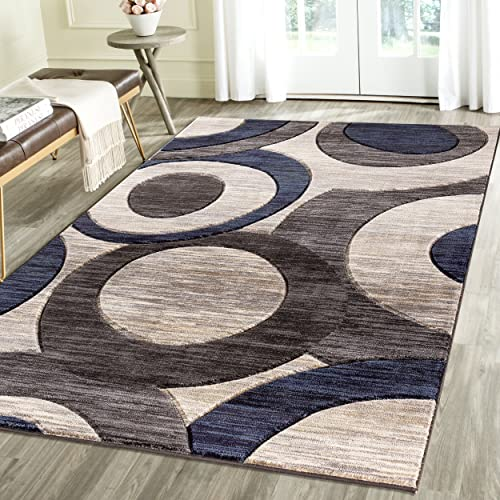 Rug Deal Plus Contemporary Circles Geometric Emerald Collection Carved Area Rug