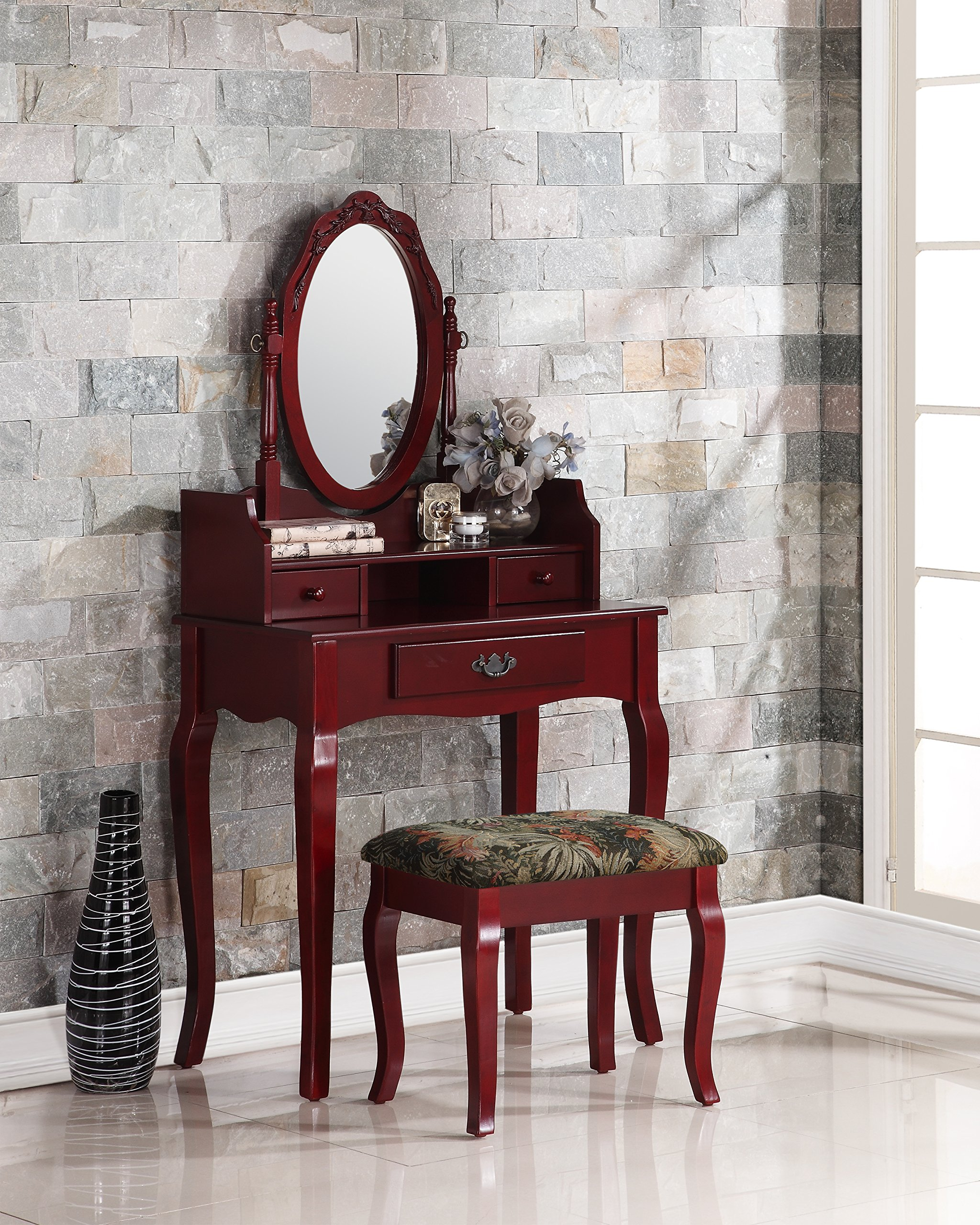 Roundhill Furniture Ribbon Wood Make-Up Vanity Table and Stool Set, Cherry