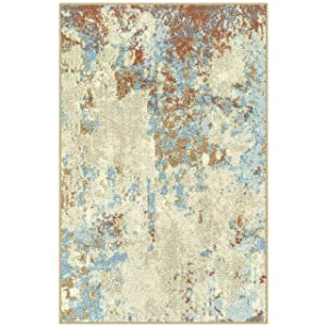 Maples Rugs Kitchen Southwestern Stone 2'6 x 3'10 Distressed Style Non Skid Washable Throw Rugs [Made in USA] for for Entryway and Bedroom, Multi