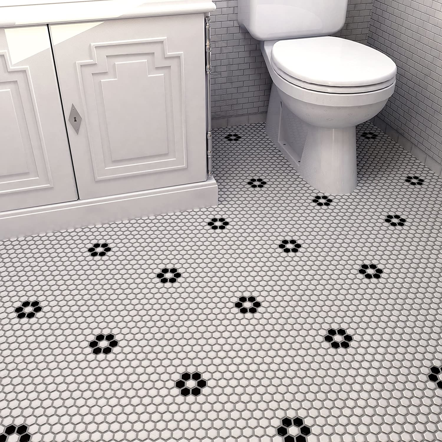 SomerTile FXLM1HMF Retro Hex with Flower Porcelain Floor and Wall ...