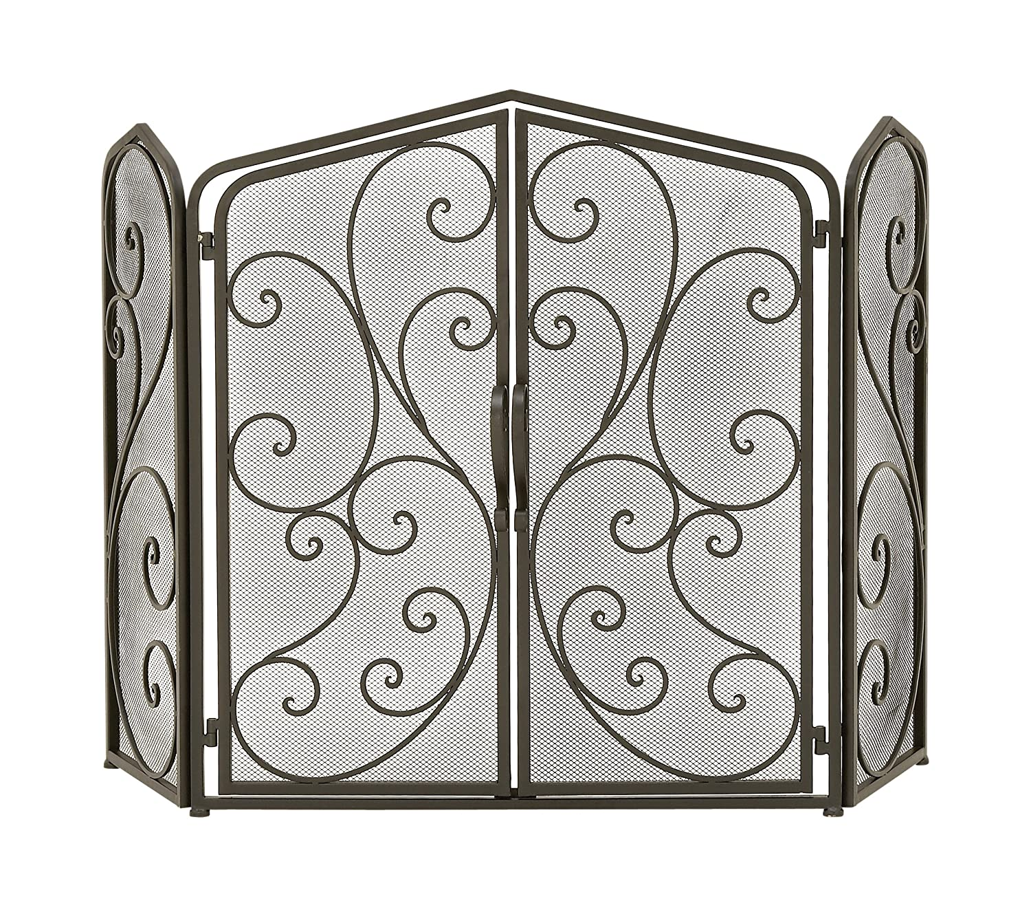 Traditional 30 x 46 Inch Rectangular Black Tin Scrollwork on Mesh Design 3-Panel Fire Screen Uma Enterprises 44576