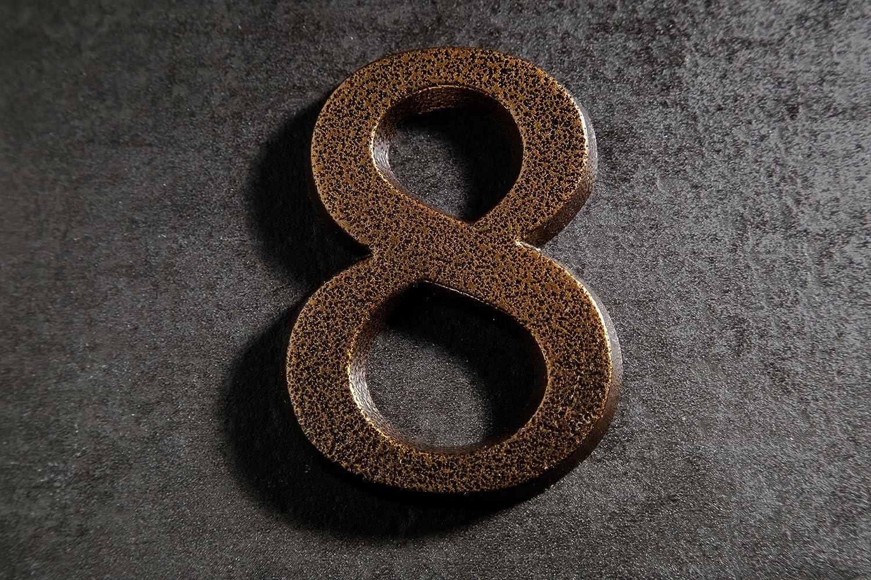 HUBER Hausnummer Nr 2 Aluminium pulverbeschichtet kupfer antike 10 cm edles dreidimensionales Design