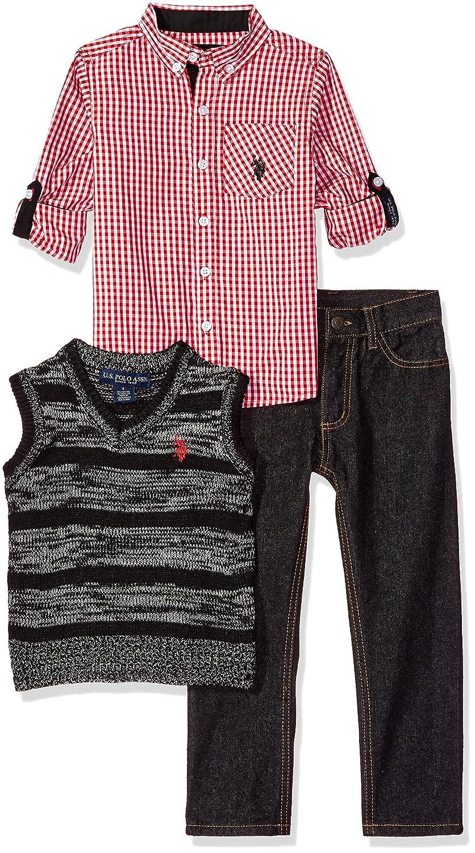 U.S. Polo Assn. Boys' Sport Shirt Vest and Pant Set